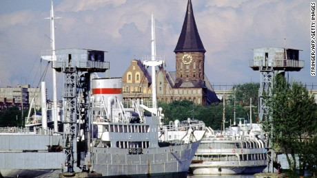 In this file photo, a view of Kaliningrad's gothic cathedral serves as a reminder of the town's historical connection to Germany before World War II.