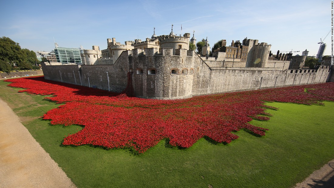 "Temporary interventions across London offer ""meanwhile"" uses in places awaiting redevelopment, such as the 2014 ""Blood Swept Lands"" ceramic poppies installation at the Tower of London (pictured above.)"