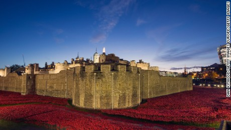 'Blood Swept Lands and Seas of Red' installation at the Tower of London on November 7, 2014.