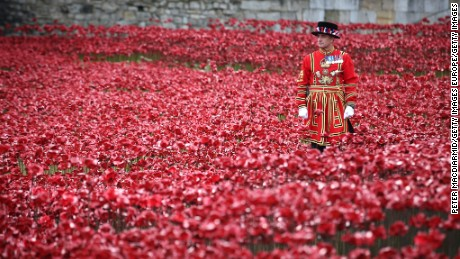 LONDON, ENGLAND - NOVEMBER 11:  A Yeomen Warder awaits the placing of the last ceramic poppy in the moat of Tower of London to mark Armistice Day, on November 11, 2014 in London, England. The installation 'Blood Swept Lands and Seas of Red' by artists Paul Cummins and Tom Piper consists of 888,246 ceramic poppies - representing each of the commonwealth servicemen and women killed in the first world war.  (Photo by Peter Macdiarmid/Getty Images)