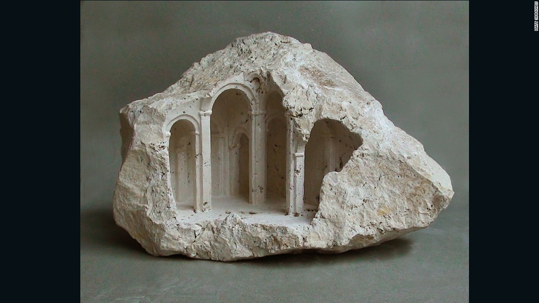 Matthew Simmonds is a stonemason who carves beautiful designs into stone.