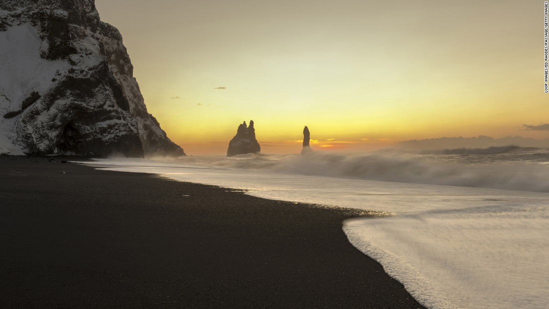 "The black sand beach of Reynisfjara, a wild stretch of North Atlantic coastline close to the small town of Vik and Iceland's southernmost tip, appearin ""Rogue One"" as the stormy planet of Eadu."