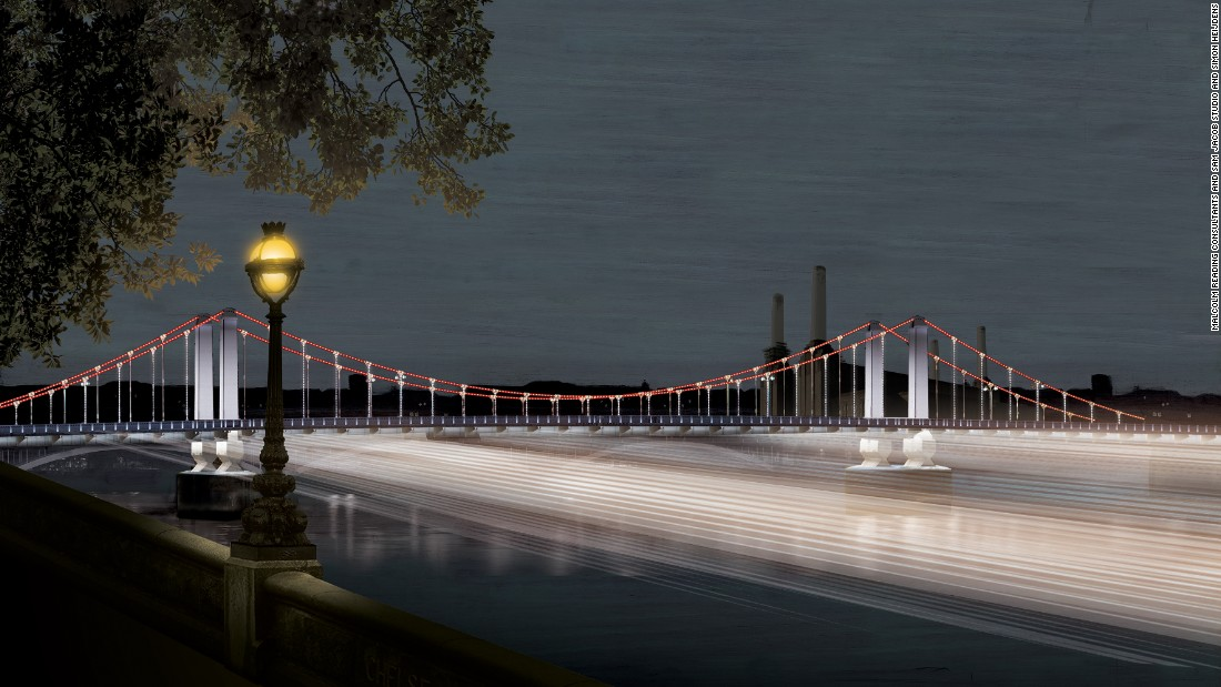 "From Sam Jacob Studio and Simon Heijdens, ""Thames Nocturne"" is designed to be a ""ribbon of light"" connecting all 17 bridges."