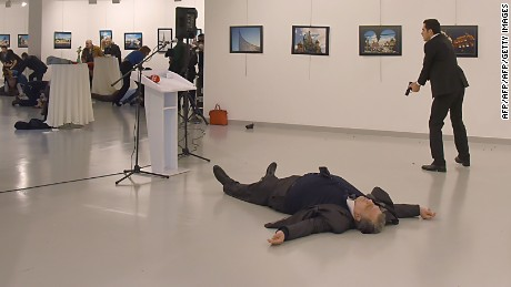 Another angle of the Russian ambassador's assassination in Ankara on December 19, 2016.