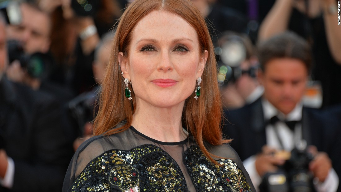 From Fabergé to Cartier and Chopard, a number of high-end jewelers have used African colored gemstones in recent creations. Pictured: Julianne Moore in Zambian emerald earrings from Chopard's Green Carpet Collection in Cannes in 2016.<br />