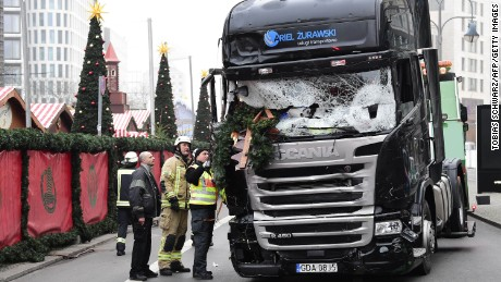 "View of the truck that crashed the evening before into a christmas market at Gedächtniskirche church on early December 20, 2016 in Berlin. German police said December 20, 2016 they were treating as ""a probable terrorist attack"" the killing of 12 people when a lorry ploughed through a packed Berlin Christmas market. / AFP / Tobias SCHWARZ        (Photo credit should read TOBIAS SCHWARZ/AFP/Getty Images)"