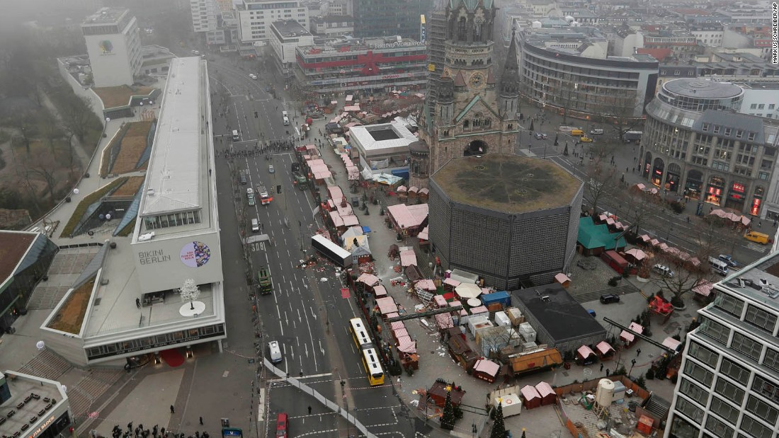 An overview of the crash site on December 20 shows where the tractor-trailer drove over the sidewalk and into market stalls near the Kaiser Wilhelm Memorial Church.