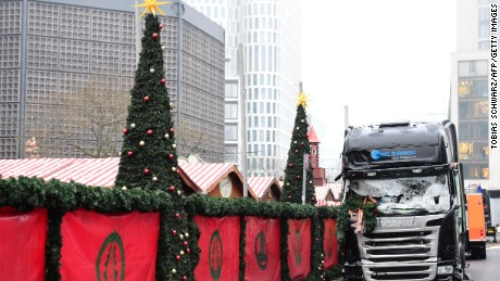 A truck that crashed into a Christmas market in Berlin is pictured on December 20, 2016.
