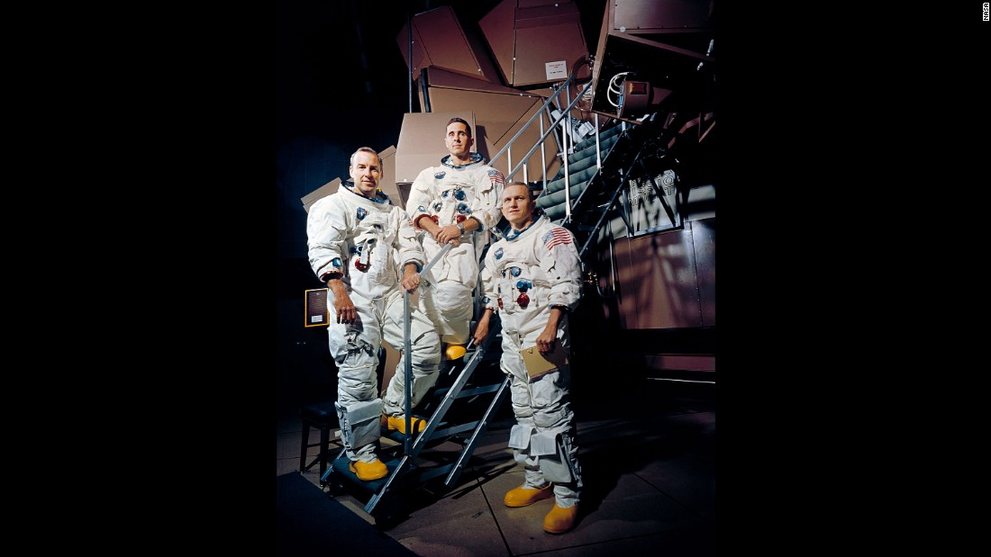 "The crew of Apollo 8: from left, Jim Lovell, Bill Anders and Frank Borman. Lovell was also the commander of the troubled Apollo 13 mission, delivering the famous line, ""Houston, we've had a problem."""