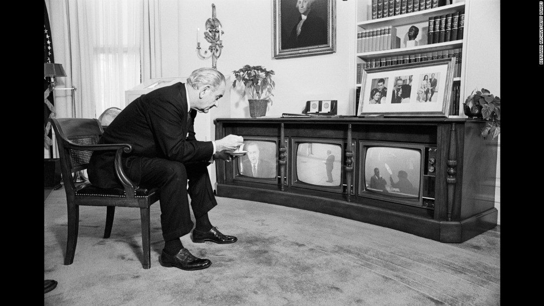 US President Lyndon B. Johnson, like millions of other Americans, sat glued to the television as the astronauts returned home on December 27. The crew splashed down safely in the Pacific Ocean.