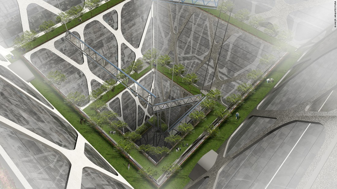 "A central void allows for a generous amount of natural light and ventilation into the structure, and layers of ""earth lobbies"" made of plants and trees are designed to improve air quality."