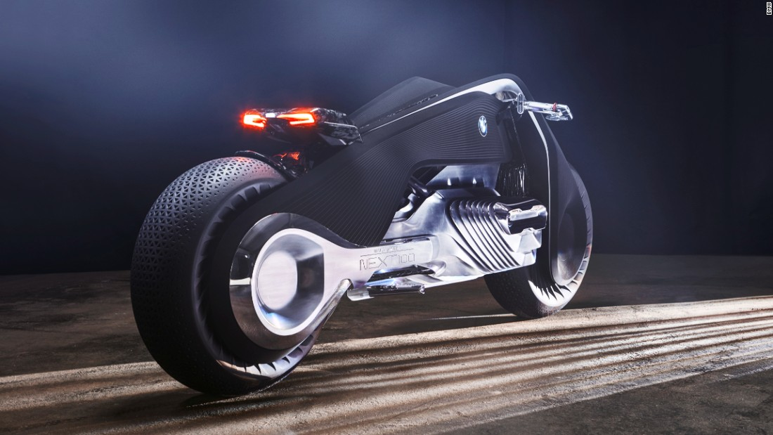 The vehicle's radical form references the triangular frame of BMW's first ever motorcycle, but is built around an emissionless electric drive unit. The frame is also flexible and bends as the bike is maneuvered, meaning traditional joints are no longer needed.