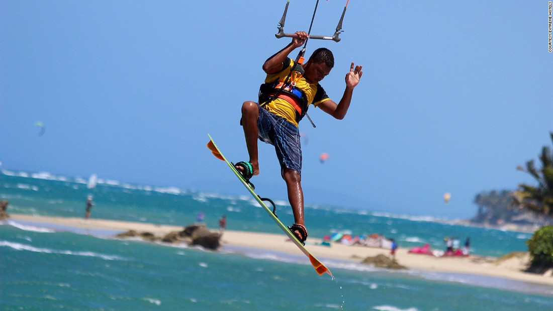 Kitesurfing is one of the activities served up by Extreme Hotel on the Dominican Republic's north coast. The eco adventure-themed hotel is also home to the country's only dedicated circus school.