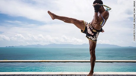 Finessing your flying Muay Thai kicks is more fun with sea views.
