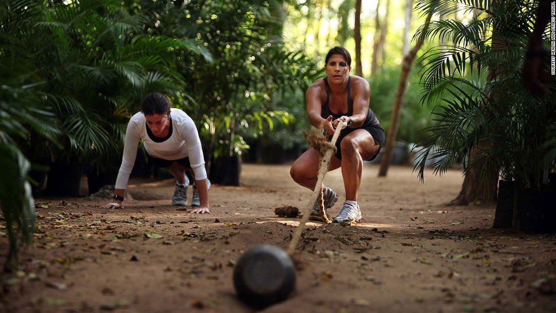 Health and Fitness Travel's Wildfitness package includes leg-burning runs up and down sand dunes, outdoor boxing sessions in a coconut grove and even log lifting to boost strength and stamina.