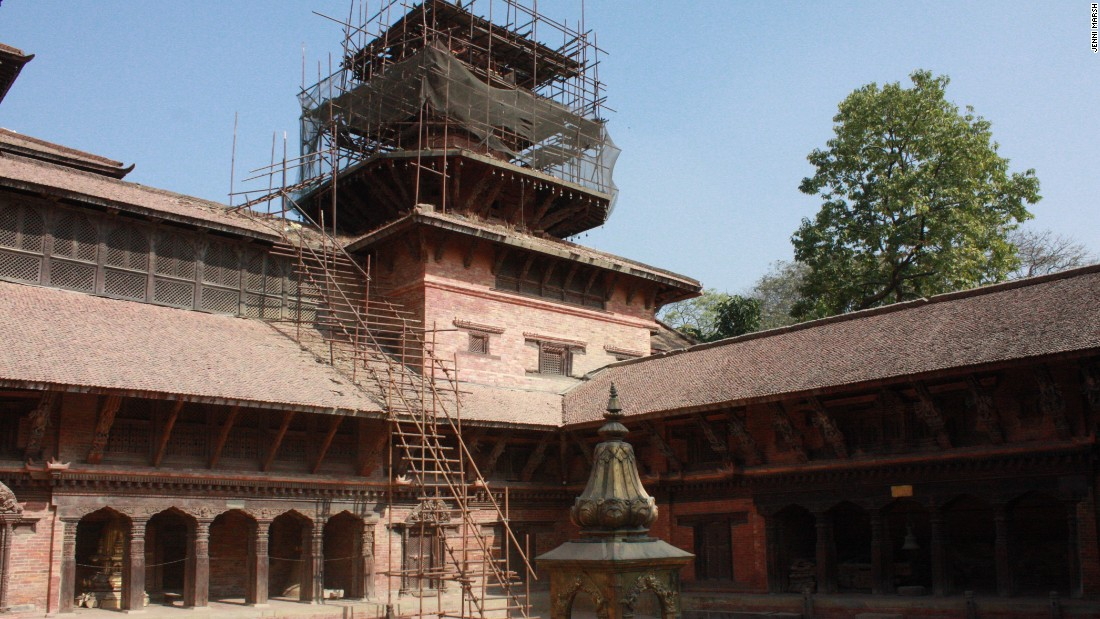 Scaffolding holds up a damaged palace at the UNESCO World Heritage Site, in the Kathmandu Valley.