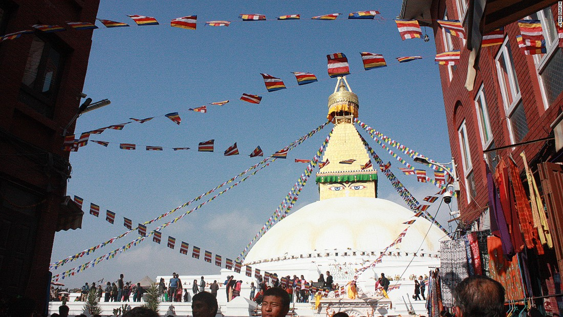 Thanks to donations from private individuals, the Boudhanath Stupa is one of the few monuments in Nepal to have been fully restored, since the 7.8 magnitude earthquake that claimed at least 8,000 lives in 2015. Here, it is pictured the week after the restorations were completed in November 2016.
