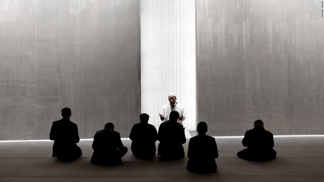 "The form of this poetic building is focused, the architects say, ""solely on the essence of religious space."" Even the mihrab seems missing, its place taken by a beam of light shining through a fissure in a bare concrete wall."