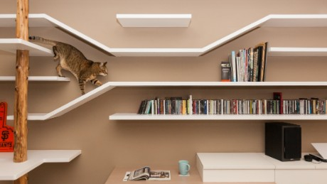 The catwalk doubles as a shelf for the owners' books, movies and music collection.