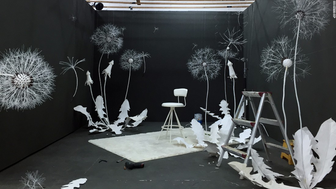 """Lee often uses her childhood memories as her source of inspiration. """"I've brought the material from my childhood memory of playing with dandelion puffs,"""" says Lee."""