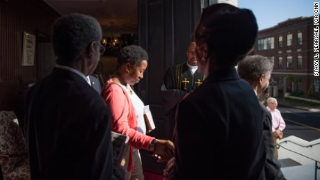 Manning bids farewell to the members of Emanuel African Methodist Episcopal Church after a Sunday service last month.
