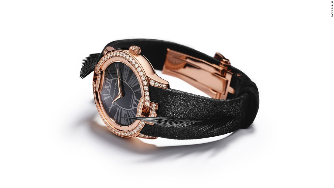 This year luxury watchmaker Roger Dubuis teamed up with French made-to-measure luxury shoemaker, Massaro, on its Velvet collection. The series pays tribute to fashion icons of the past. The above watch is inspired by actress Greta Garbo. Priced at $41,000, the watch has black feathers on the strap and 86 diamonds on its rose-gold case.