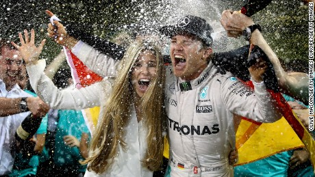 Vivian Rosberg joined the celebrations after husband Nico won the 2016 F1 title.
