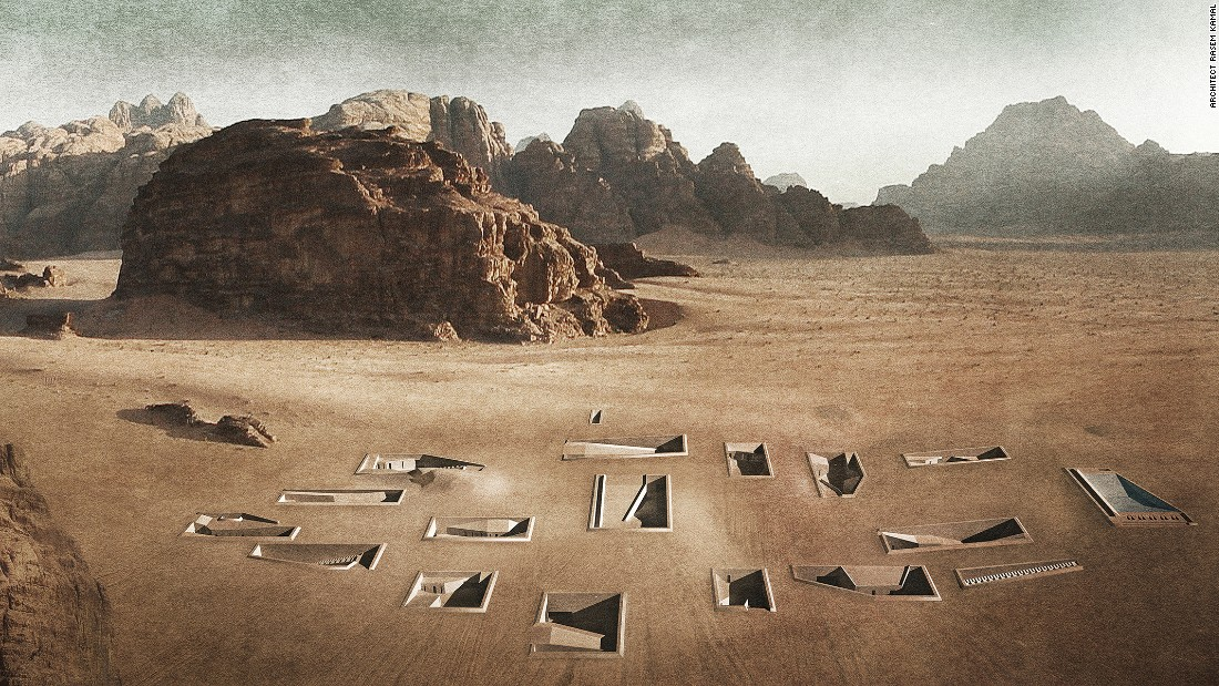 Wadi Rum Excavated Sanctuaries was Switzerland-based architect Rasem Kamal's thesis project at the Rice School of Architecture in 2015.