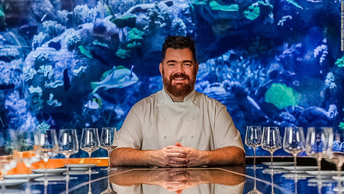 "<strong>Nathan Outlaw at Al Mahara, Burj Al Arab, Dubai: </strong>With a huge floor-to-ceiling aquarium featuring more than 30 types of fish, the restaurant provides an ""immersive"" dining experience."