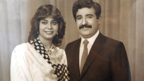 Raghad Hussein with her husband, Hussein Kamel. He was killed in 1996.