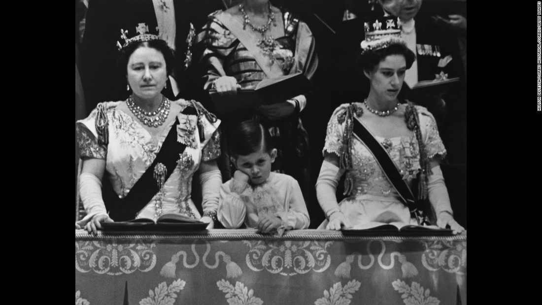 Prince Charles attends his mother's coronation in 1953 with his grandmother, left, and his aunt Margaret.