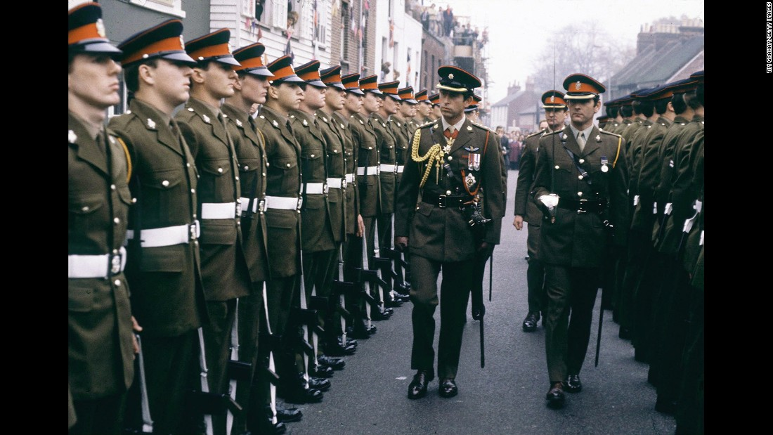 Prince Charles, as colonel-in-chief, visits the Cheshire Regiment in Canterbury, England, in November 1978. He served in the Royal Navy from 1971 to 1976, and in 2012 his mother appointed him honorary five-star ranks in the navy, army and air force.