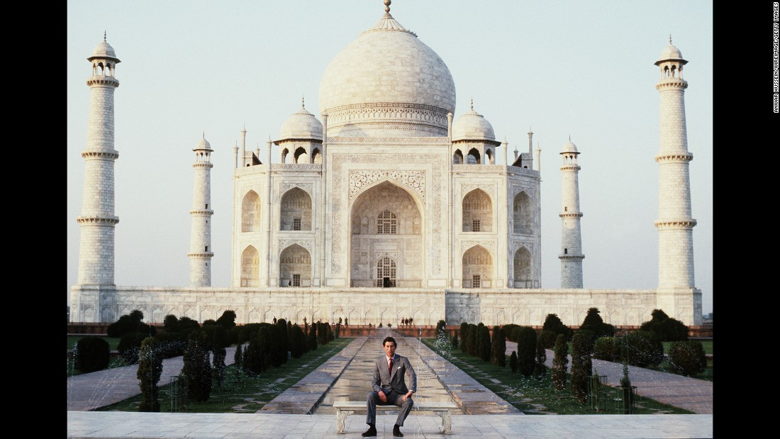 Prince Charles poses outside the Taj Mahal in India in 1980.