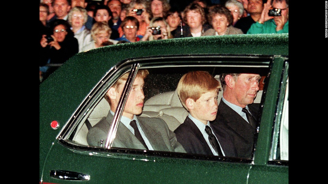 Prince Charles and his sons follow Diana's hearse in London in September 1997.