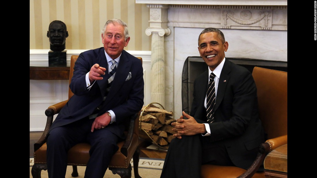 Prince Charles meets with US President Barack Obama in the White House Oval Office in March 2015.