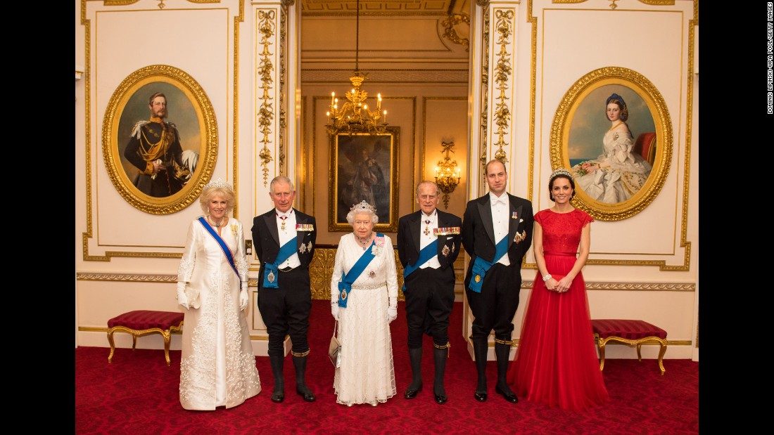Members of the royal family pose for a photo at Buckingham Palace in December 2016. From left are Camilla, Duchess of Cornwall; Prince Charles; Queen Elizabeth II; Prince Philip; Prince William and Catherine, Duchess of Cambridge.