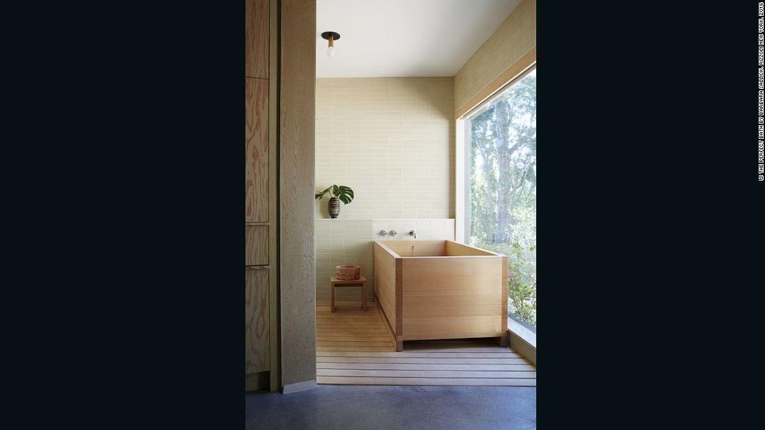 "Pamela Shamshiri goes au naturel with her wooden bathroom designs. ""In my own home, we have a Japanese bath that demands nearly as much attention as a child. But it's worth it, and I believe fine woods, such as hinoki, a Japanese cypress, deliver healing properties that other materials do not,"" she says."