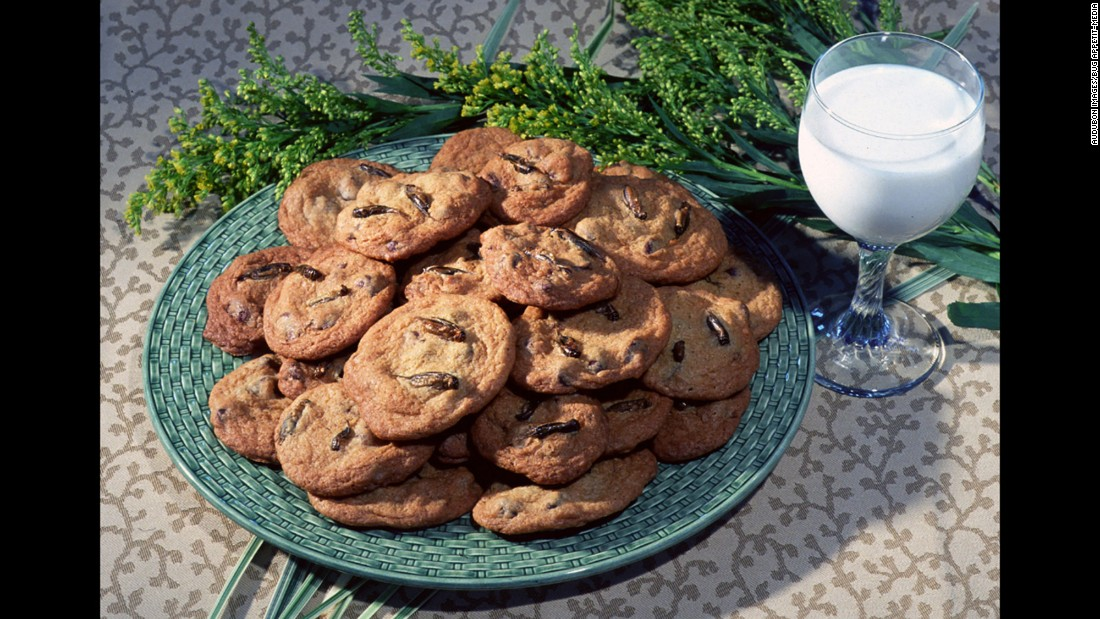 "<strong><br />Pictured</strong>: Chocolate Chirp Cookies for Santa, from Audubon's<a href=""http://audubonnatureinstitute.org/insectarium/explore-insectarium/insectarium-exhibits/401-bug-appetit"" target=""_blank""> Bug Appetit Eatery</a>.<br /><br />Made with cricket flour and dry roasted crickets, these cookies are packed with protein. <br /><br />Traditional chocolate cookies will only have 4.9 grams of protein per 100 grams, but with addition of crickets the number increases to 16.9 grams.<br />"