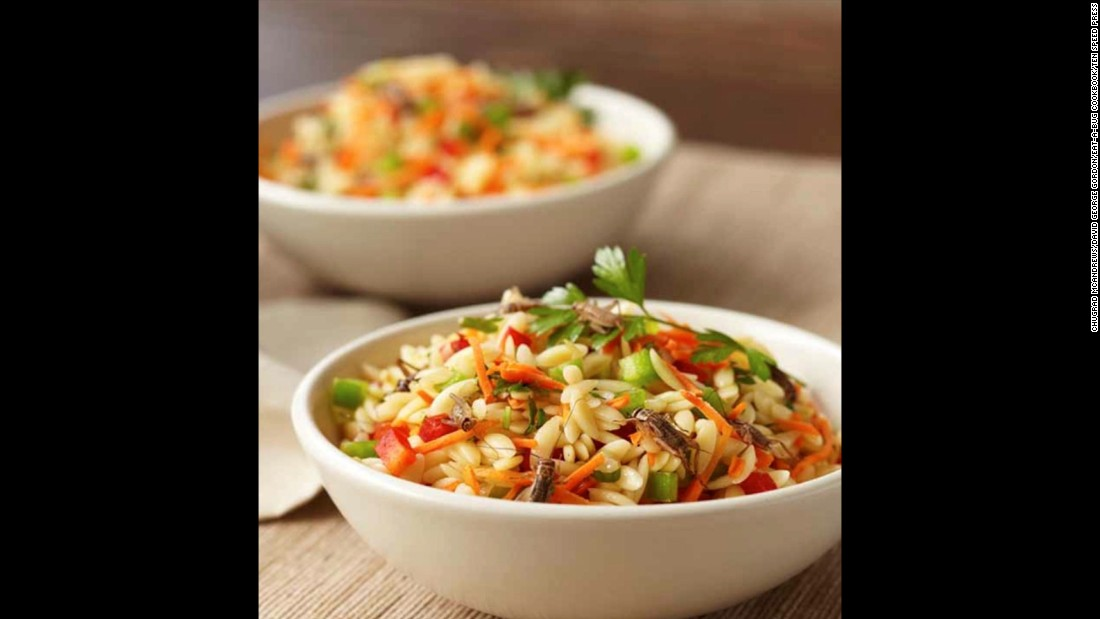 "<strong><br />Pictured:</strong> Orthopteran Orzo salad, a combination of grain shaped pasta and crickets, from the ""Eat-a-Bug Cookbook"" by Chef David George Gordon.<br /><br />""It's a great blend of carbohydrates, vegetables and protein. I used cricket nymphs because they don't have wings, so they're less crunchy,"" Gordon told CNN<br /><br />Orthopterans are a type of insect that includes grasshoppers, locusts and crickets. In addition to protein, crickets are rich in calcium and contain Omega-3 fatty acids.<br />"