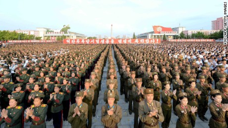 "This picture taken on September 13, 2016 and released by North Korea's official Korean Central News Agency (KCNA) on September 14, 2016 shows North Korean military offiers and citizens holding a rally to celebrate the September 9 nuclear warhead test in Kim Il-Sung Square in Pyongyang.  North Korea is ready to conduct another nuclear test at any time, South Korea's defence ministry said on September 12, just days after Pyongyang sparked worldwide condemnation with its fifth and most powerful test. / AFP / KCNA / KNS / South Korea OUT / REPUBLIC OF KOREA OUT   ---EDITORS NOTE--- RESTRICTED TO EDITORIAL USE - MANDATORY CREDIT ""AFP PHOTO/KCNA VIA KNS"" - NO MARKETING NO ADVERTISING CAMPAIGNS - DISTRIBUTED AS A SERVICE TO CLIENTS THIS PICTURE WAS MADE AVAILABLE BY A THIRD PARTY. AFP CAN NOT INDEPENDENTLY VERIFY THE AUTHENTICITY, LOCATION, DATE AND CONTENT OF THIS IMAGE. THIS PHOTO IS DISTRIBUTED EXACTLY AS RECEIVED BY AFP.  /         (Photo credit should read KNS/AFP/Getty Images)"