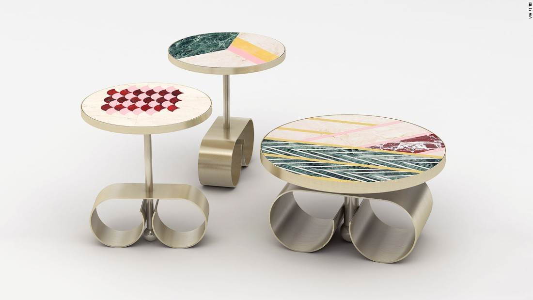 "Fendi recently collaborated with architect Cristina Celestino on its ""Happy Room"" series. It includes tables, chairs, lamps and mirrors and was shown at Fendi's VIP suite at Design Miami."