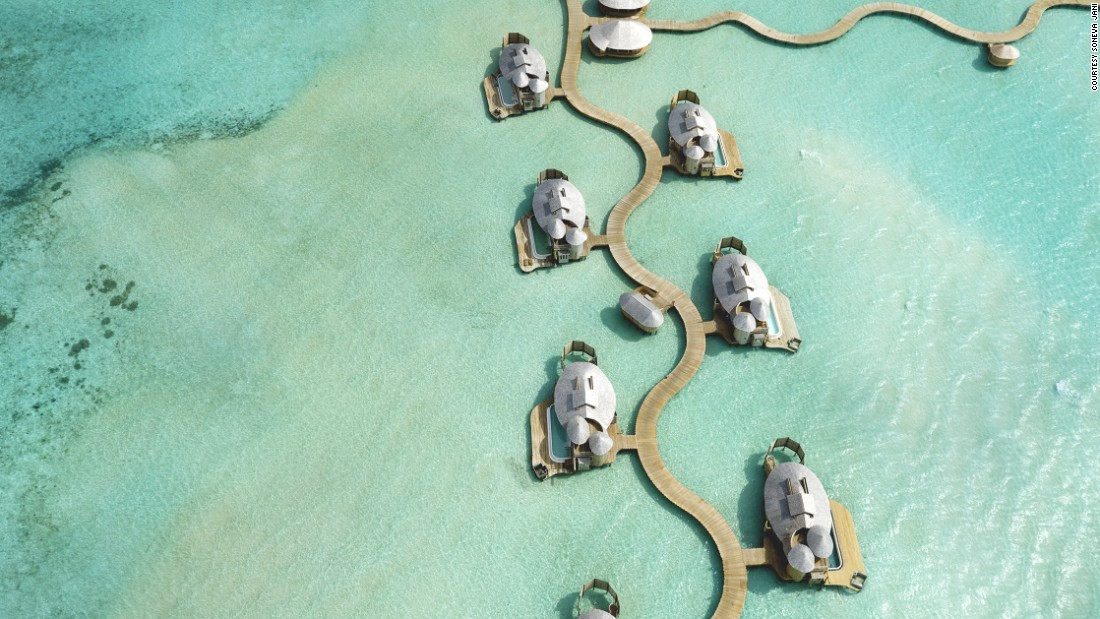 <strong>Soneva Jani, Maldives: </strong>Many of the resort's 24 villas have slides that transport guests directly from the top level into the lagoon below.