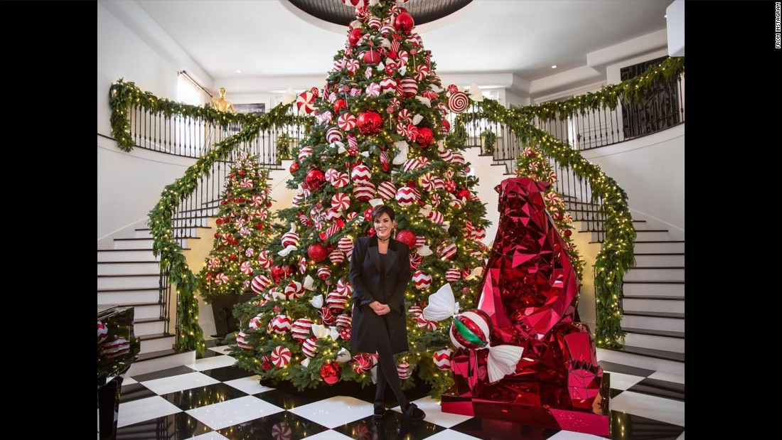 Kris Jenner took fans inside her mansion to reveal a giant Christmas tree with all the trimmings.