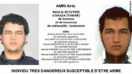 An arrest warrant has been issued for Anis Amri, a Tunisian who is considered armed and dangerous.