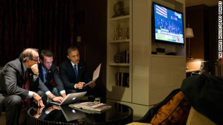 In this handout from the White House, President Barack Obama works on his acceptance speech. (Photo by Pete Souza/The White House via Getty Images)