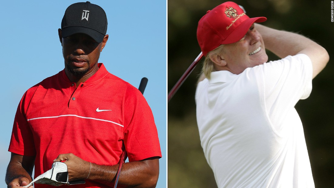 tiger woods and donald trump play golf