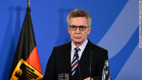 German Interior Minister Thomas de Maiziere addresses a press conference in Berlin on December 23, 2016 after Tunisian Anis Amri, the suspected Christmas market attacker, was killed when he opened fire on Italian police in Milan. / AFP / Tobias SCHWARZ        (Photo credit should read TOBIAS SCHWARZ/AFP/Getty Images)
