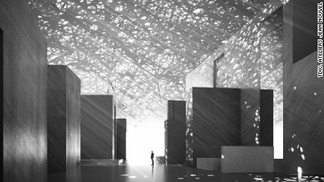 A perforated metal dome covers the Abu Dhabi Louvre, spilling soft, calming light into the corridors.