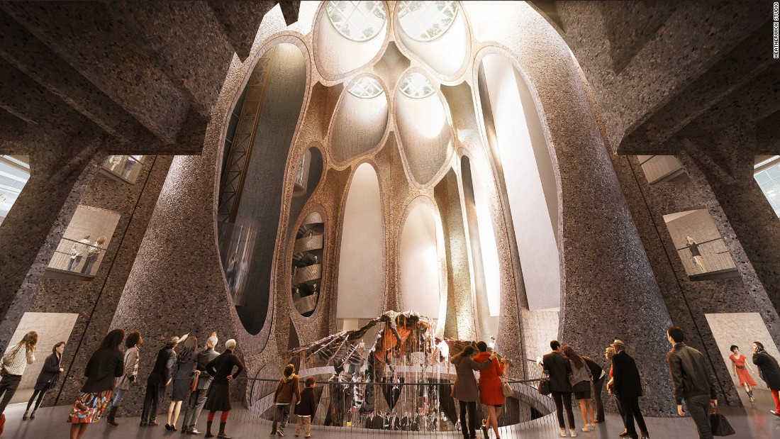 The Zeitz MOCAA facade comes to life at the hands of London-based Heatherwick Studio. The architects salvaged several historic elements from the building -- including a web of enormous concrete tubes -- that can be seen from the large atrium space.