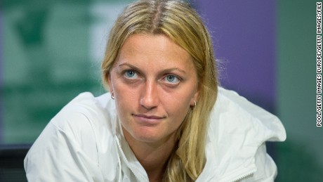 LONDON, ENGLAND - JULY 04: Petra Kvitova of Czech Republic attends a press conference during day six of the Wimbledon Lawn Tennis Championships at the All England Lawn Tennis and Croquet Club on July 4, 2015 in London, England. (Photo by Javier Garcia - Pool/AELTC/Getty Images)